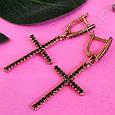 Серьги кресты серебро с позолотой, фото 5