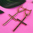Серьги кресты серебро с позолотой, фото 4