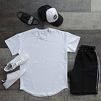 Футболка + шорты оверсайз Casual x black-white / мужской летний комплект с лампасами, фото 1
