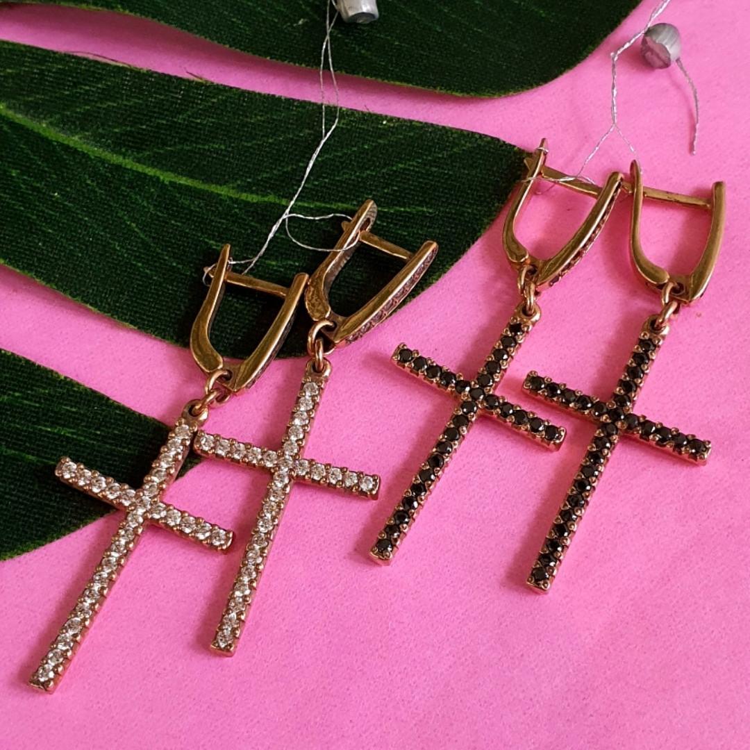 Серьги кресты серебро с позолотой