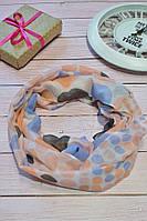 Персиковый шарф снуд в горохи из хлопка с блестками Demure 180*42
