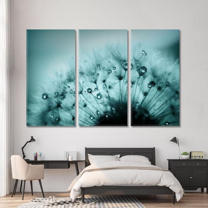 Картина - Пушистый одуванчик - 3 части из стекла