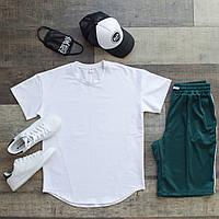 Футболка + шорты оверсайз Casual x green-white / мужской летний комплект с лампасами, фото 1
