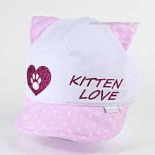 Бейсболка с ушками хлопок для девочек 46-52 см цвет розовый