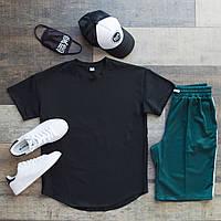 Футболка + шорты оверсайз Casual x green-black / мужской летний комплект с лампасами, фото 1