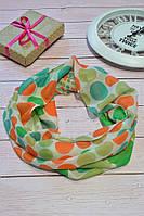 Салатовый шарф снуд в горохи из хлопка с блестками Demure 180*42, фото 1