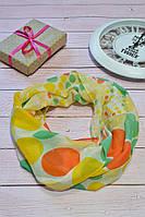 Желтый шарф снуд в горохи из хлопка с блестками Demure 180*42, фото 1