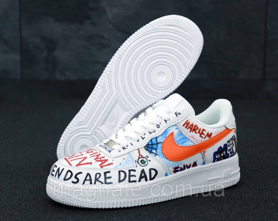 Кроссовки унисекс Pauly X Vlone Pop Nike Air Force 1 Low White / Найк Аир Форс белые