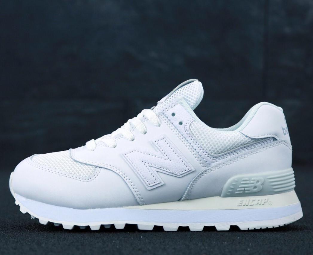 Мужские кроссовки New Balance 574 White (Нью Беленс белые)