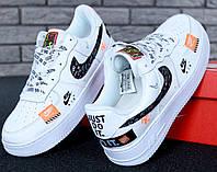 Мужские кроссовки Nike Air Force 1 Low Just Do It Pack White / Найк Аир Форс 1 низкие, белые