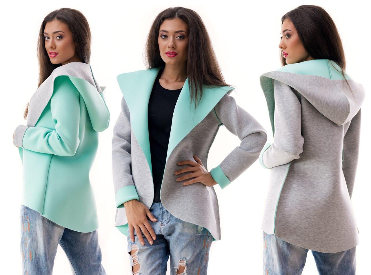 Женский пиджак с капюшоном неопрен