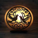 Соляной светильник круглый голуби, фото 2