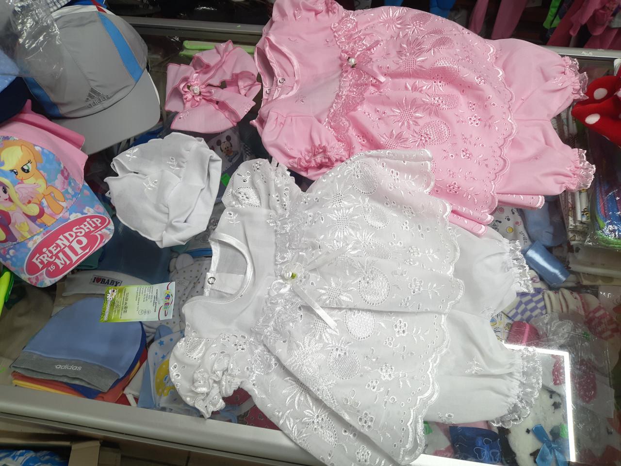 Костюм детский летний для девочки Платье повязка и трусики р.62 - 74