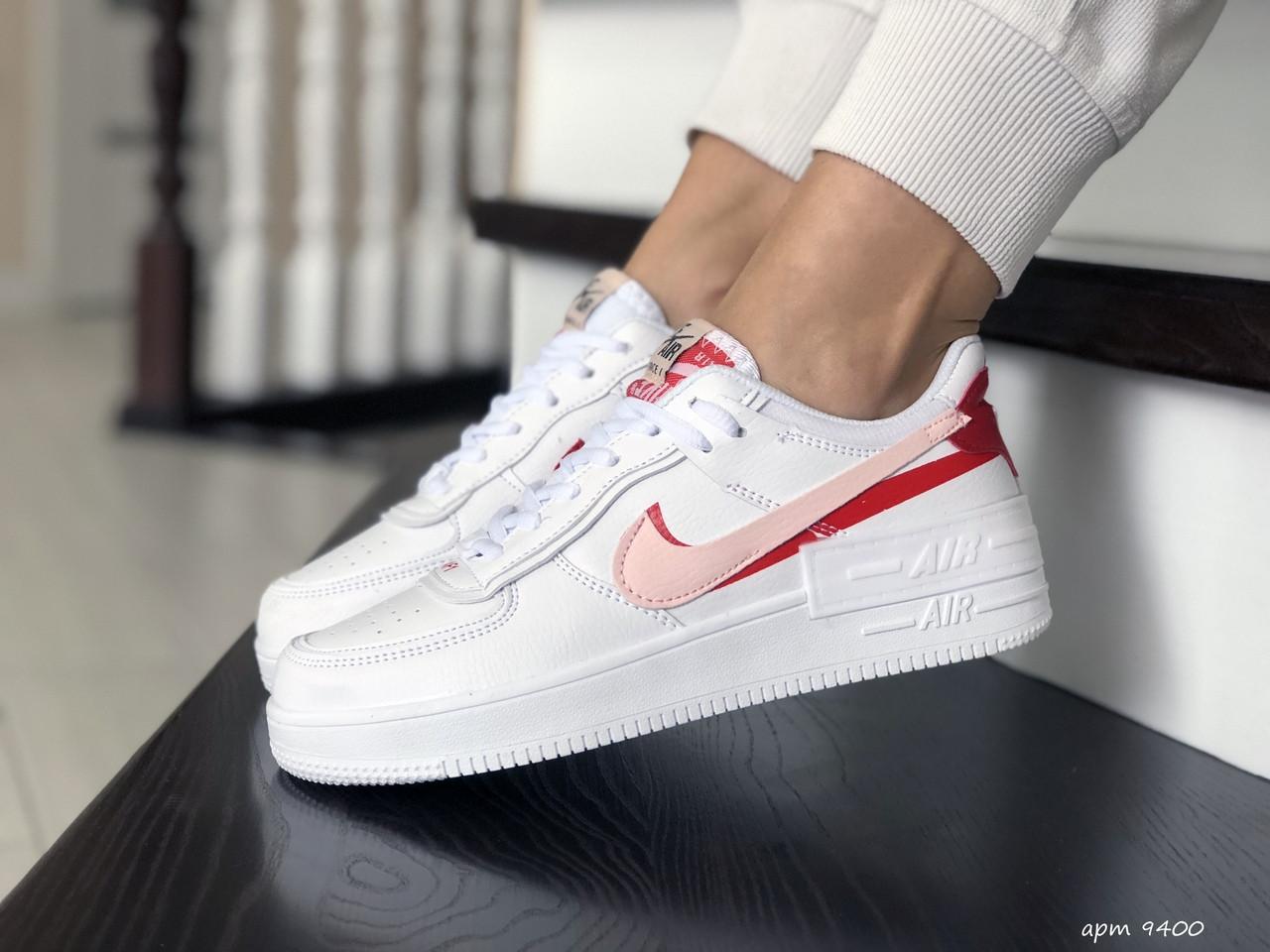 Женские кроссовки Nike Air Force,белые с красным