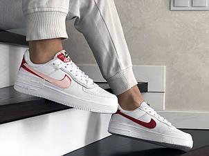 Женские кроссовки Nike Air Force,белые с красным, фото 2