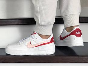 Женские кроссовки Nike Air Force,белые с красным, фото 3