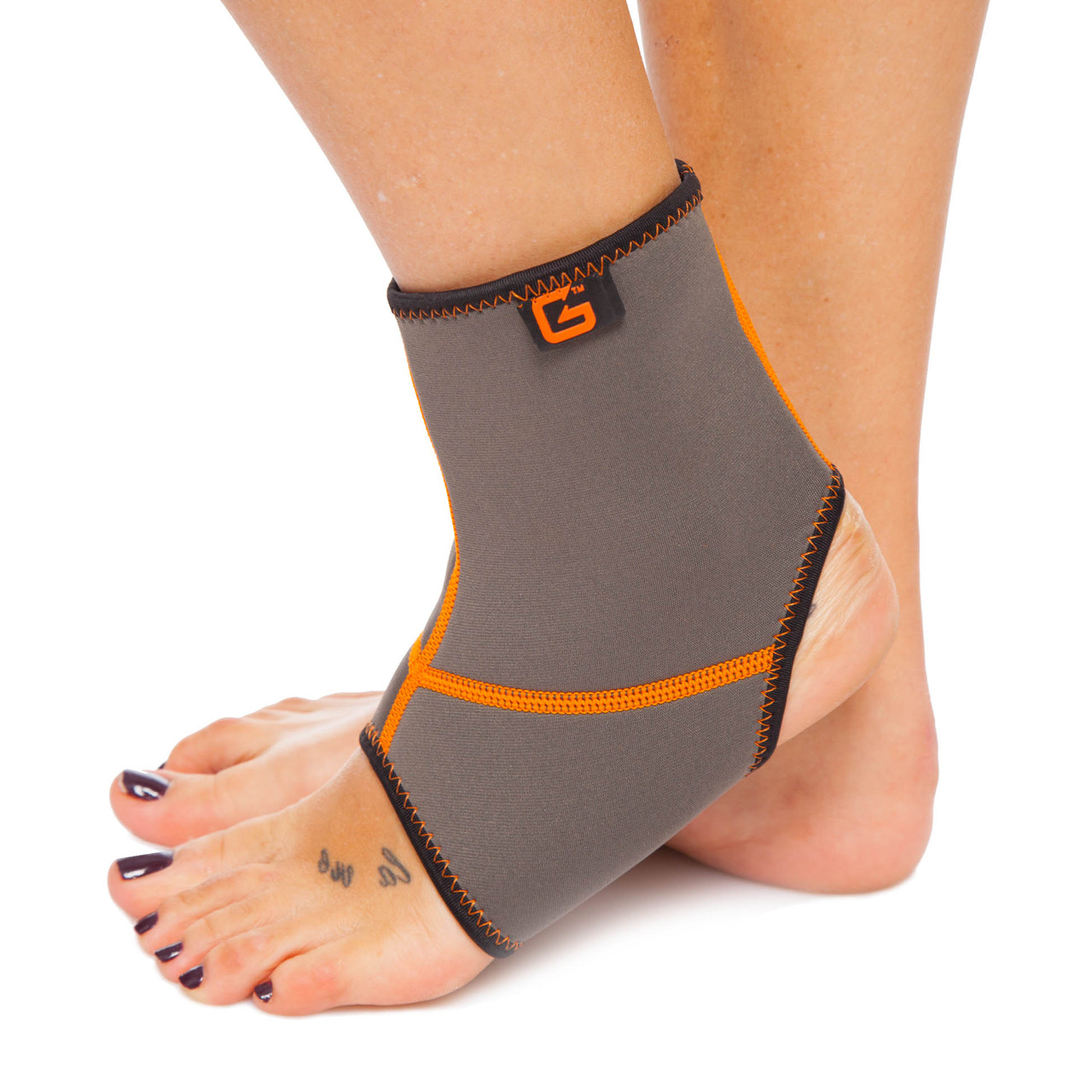 Голеностоп (бандаж голеностопного сустава) неопреновый (1шт) GS-670 (NY, каучук,р-р S-XL,серый-оранжевый)