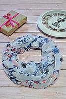 Голубой яркий цветочный шарф снуд с люрексовой нитью  Success 175*45, фото 1