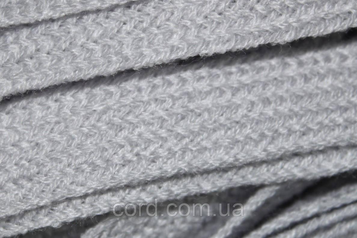 Шнур плоский тесьма акрил 15мм (50м) светло серый