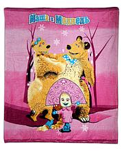 Плед з мікрофібри Маша і Ведмідь на рожевому