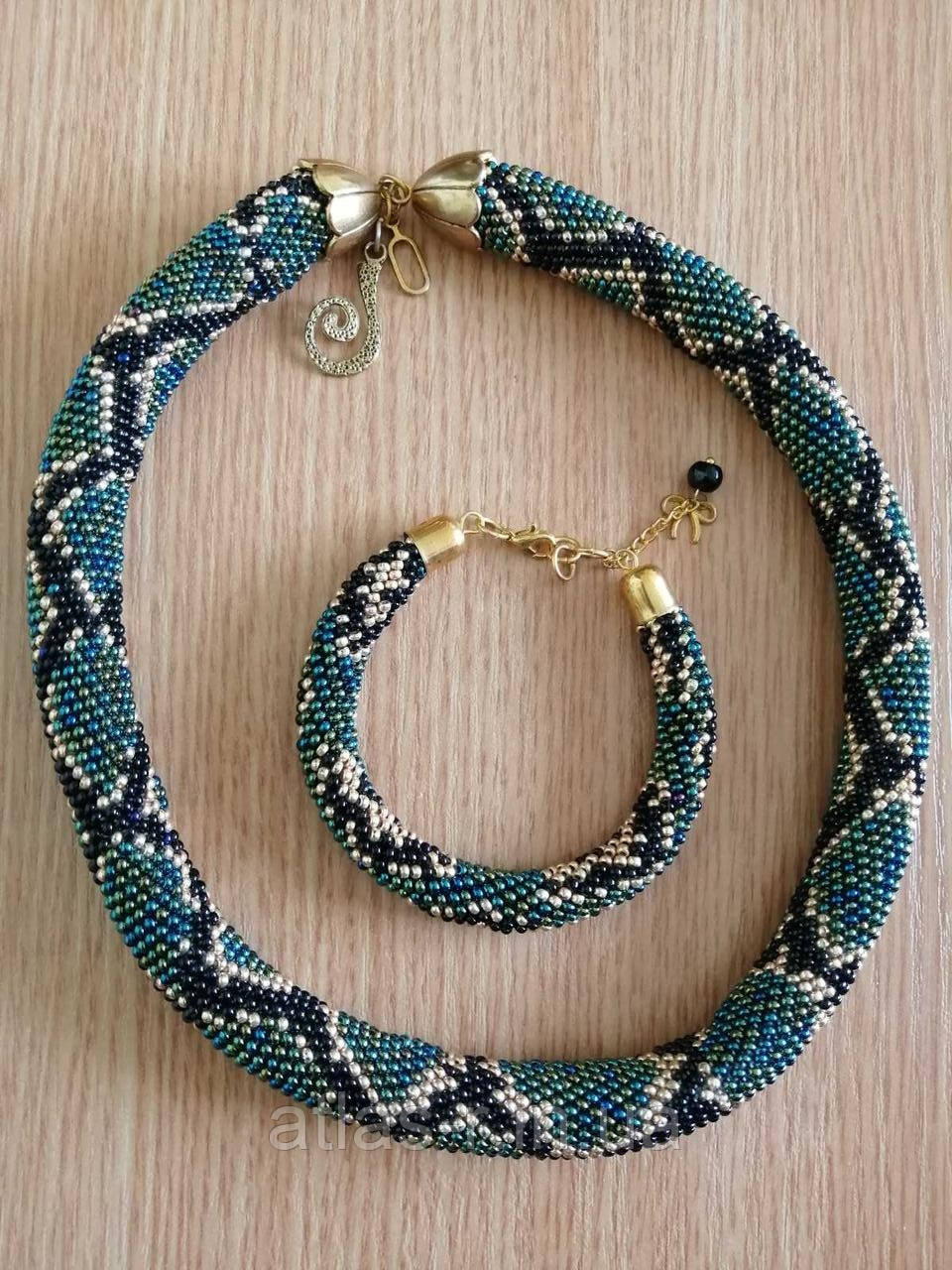 Комплект - браслет та намисто. Джгут змія ручної роботи