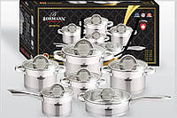 Набор посуды из нержавеющей стали 12 предметов Bohmann BH 007-12