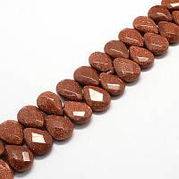Авантюрин искусственный бусина 18х13 мм коричневый для рукоделия