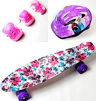 Penny Board. Flowers chamomile.+защита+шлем. Светящиеся колеса.