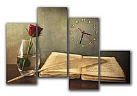Большие часы картина на стену в гостинную модульные Книга и роза  30х62 30х70 30х75 30х33 см