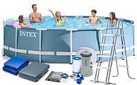 Каркасный бассейн, бассейн большой Intex 26726 + насос фильтр+лестница+тент+подстилка 457x122см