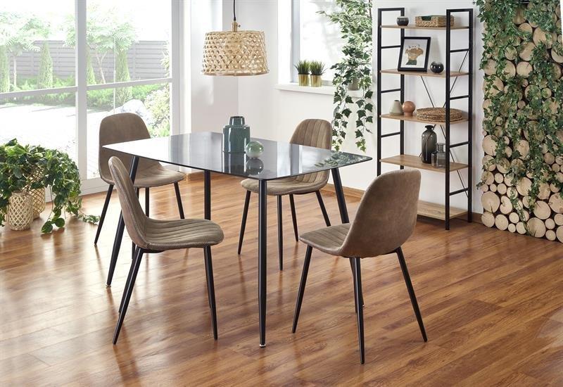 """Скляний стіл """"Next"""" від Halmar 130*80см (чорний)"""