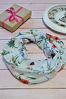 Алый яркий цветочный шарф снуд с люрексовой нитью  Success 175*45, фото 1
