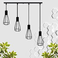 """Подвесной металлический светильник, современный индустриальный стиль """"CARAT-4"""" Е27  черный цвет"""