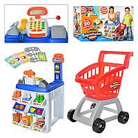 Детский супермаркет магазин, кассовый аппарат  KEENWAY 31621 кассас калькулятором, тележка,20 предметов 11/50