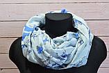 Голубой пастельный шарф снуд в цветочный орнамент с блестками  Marigold 176*47, фото 2
