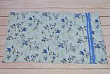 Голубой пастельный шарф снуд в цветочный орнамент с блестками  Marigold 176*47, фото 4