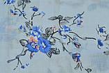 Голубой пастельный шарф снуд в цветочный орнамент с блестками  Marigold 176*47, фото 5