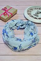 Голубой пастельный шарф снуд в цветочный орнамент с блестками  Marigold 176*47, фото 1