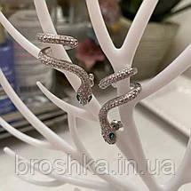 Серьги каффы змея ювелирная бижутерия, фото 2