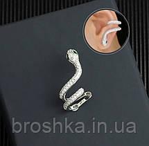 Серьги каффы змея ювелирная бижутерия, фото 3
