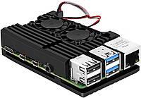 Алюмінієвий корпус - радіатор з двома кулерами для Raspberry Pi 4 Model B