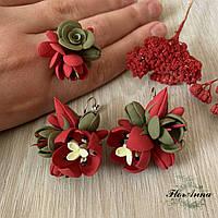 """Красный комплект украшений """"Тюльпаны с фрезиями"""". Серьги и кольцо"""