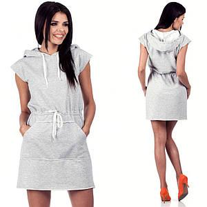Серое платье в спортивном стиле (Код MF-212)