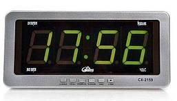Часы Caixing CX-2159 с зеленой подсветкой Серебристые (011085)