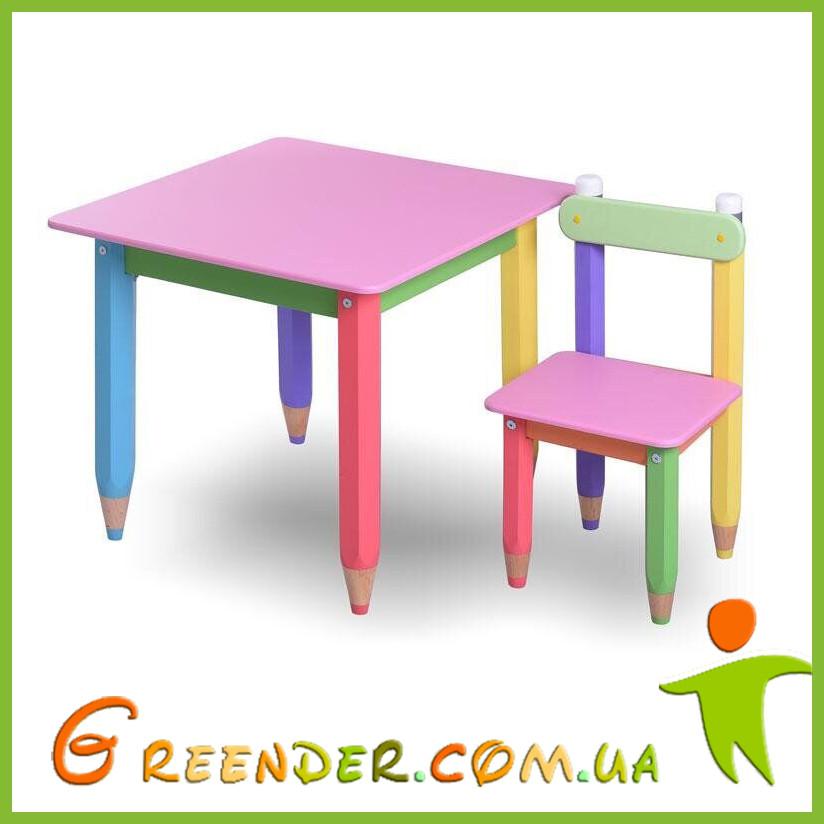 """Комплект, столик """"Карандашики"""" 60*60 (стол с пеналом + стульчик ) в 4 цветах"""