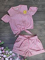 """Подростковый стильный костюм в клеточку для девочки """"Смайлик"""" 8-12 лет, розового цвета"""