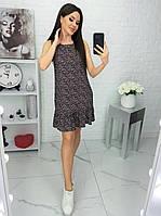 Платье в мелкий цветочек черное 639