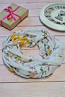 Желтый пастельный шарф снуд в цветочный орнамент с блестками Marigold 176*47, фото 1