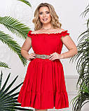 Платье женское летнее с открытыми плечами и А-образном крое, 4 цвета р.42-46, 48-50,52-54, код 1234Х, фото 6