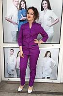 """Модный медицинский женский костюм """"Камила"""" 42-50, куртка медицинская на кнопках и с V-образным вырезом ."""